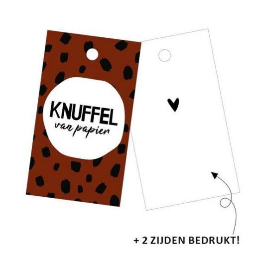 cadeaulabel knuffel van papier, kadolabel knuffel, inpakken