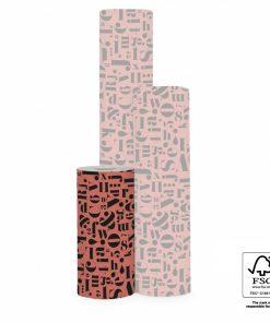 inpakpapier script red, cadeau papier brick red, kaftpapier