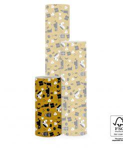inpakpapier sinterklaas, inpakpapier sint illustratie geel, cadeau papier sinterklaas