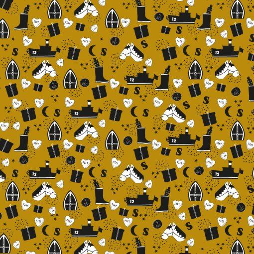 inpakpapier sint illustratie geel, inpakpapier sinterklaas, cadeau papier sinterklaas, inpakpapier 5 december
