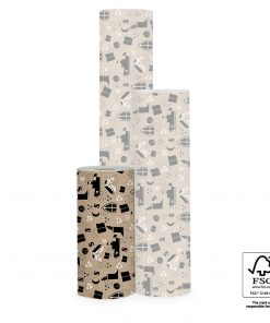 inpakpapier sint illustatie kraft, cadeau papier sinterklaas, inpakpapier sinterklaas, kraft inpakpapier