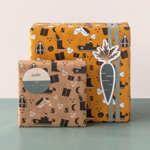 Inpakpapier Sinterklaas, inpakpapier sint illustratie geel, inpakpapier sint illustratie kraft