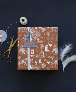inpakpapier sint vintage, cadeau papier sint vintage, inpakpapier sinterklaas voorbeeld, inpak idee sinterklaas
