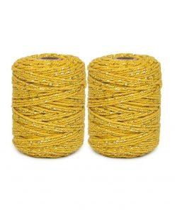 touw twist okergeel/gold, katoen touw, kado touw