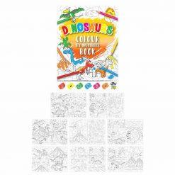 kleurboekje dinosaurus, kleurboekje kleuren op nummers, dino traktatie