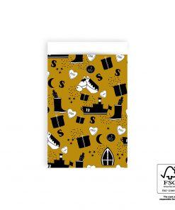 cadeau zakje sint illustratie geel, cadeau zakje 12x19 cm, papieren cadeau zakjes