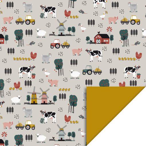 cadeau papier farm retro yellow, inpak papier boerderij, kado papier boerderij, boerderij thema, kadopapier kind