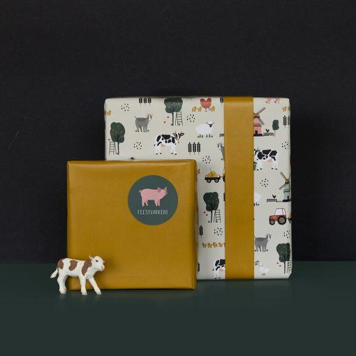 cadeau papier farm retro yellow, inpakpapier boerderij, kadopapier boerderij, cadeau voorbeeld