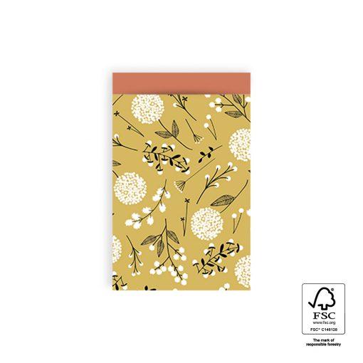 cadeau zakje flowers big yellow, papieren cadeau zakje, kadozakjes