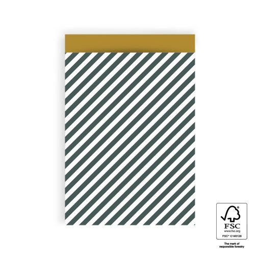 cadeau zakje striped diagonal petrol, papieren cadeau zakje, cadeautjes inpakken