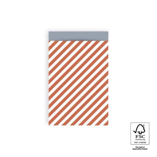 cadeau zakje stripe diagonal red, papieren cadeau zakje