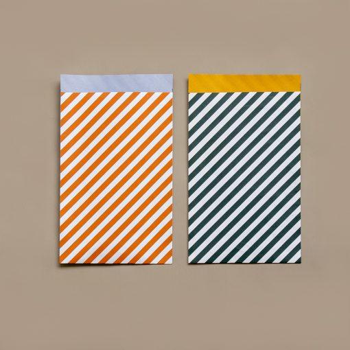 cadeau zakje striped, papieren cadeau zakje, inpakken