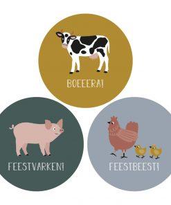sluitsticker boerderij, kado sticker boerderij, sluitsticker verjaardag, kado sticker dieren