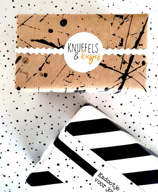 cadeau papier confetti day, kadopapier confetti day. cadeau papier splash black, inpakpapier