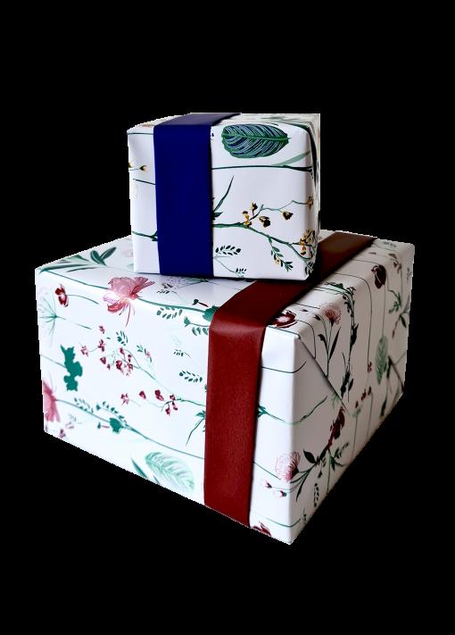 inpakpapier pretty poppy blauw, cadeau papier pretty poppy rood, inpakpapier, kado papier
