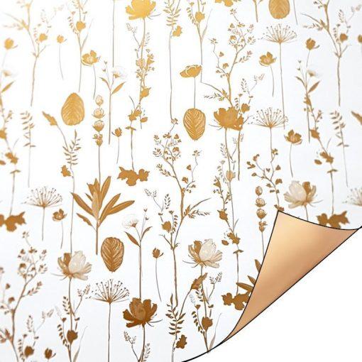 kadopapier pretty poppy gold, inpakpapier pretty poppy, inpak papier pretty poppy, goud cadeau papier, luxe cadeau papier