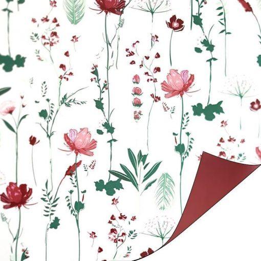 kadopapier papier pretty poppy rood, cadeau papier, inpak papier, fleurig kadopapier