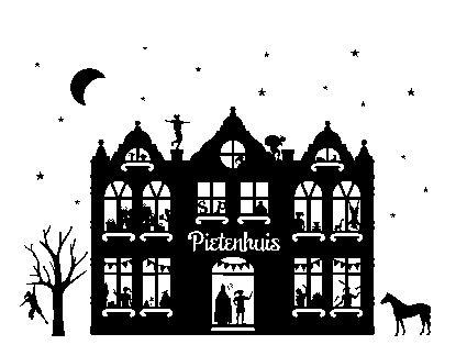 raamsticker pietenhuis, raamsticker sinterklaas, Sinterklaas thema straatje
