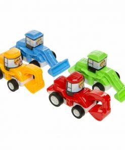 gekleurde graafmachine, voertuigen traktatie, jongens traktatie