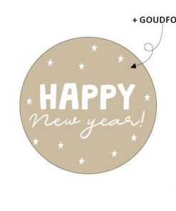 Sluitsticker happy new year, kado sticker happy new year