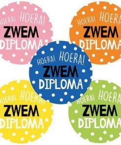 Sluitsticker hoera zwemdiploma, kado sticker zwemdiploma, diploma A, diploma B