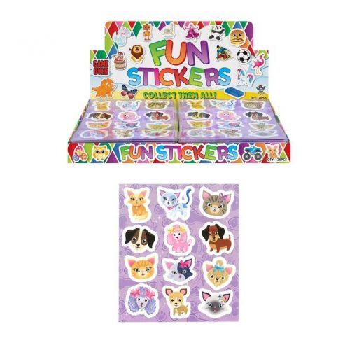 funstickervel honden en katten, dieren stickers, honden stickers, poezen stickers